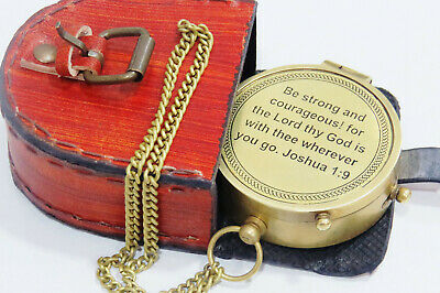 Be Strong and Courageous Engraved Compass Joshua 1 9 Baptism, Missionary, Birthd