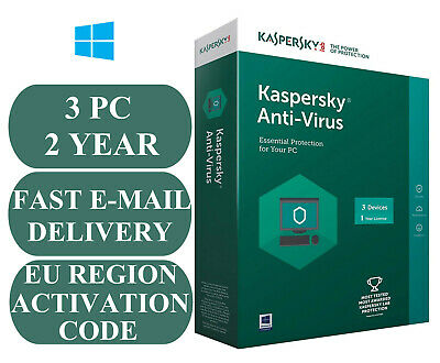 Kaspersky Anti-Virus 3 Pc 2 Year Activation Code Uk & Eu Region 2020 E-Mail Only