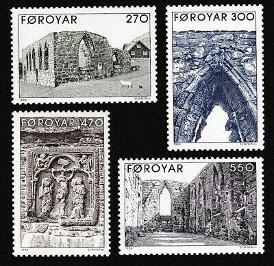 Faroe Is. Kirkjubour Cathedral Ruins 4v MNH SG#170-173 SC#182-185