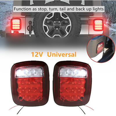 Universal 16LED Tail Lights Rear Brake Lamp Turn Stop Reverse For SUV Truck Boat