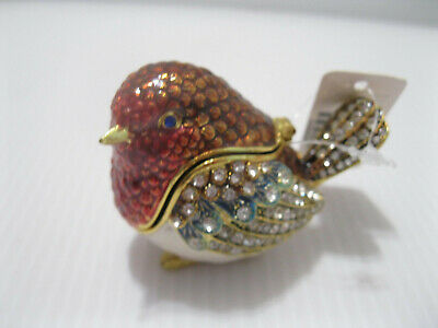 Robin Jewelry Trinket Box Swarovski Crystals Enamel Bejeweled Hinged w/ Necklace