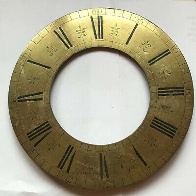 """Antique Early Long case clock Brass Chapter Ring 10 """" Diameter Terry York C1705"""