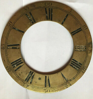 Antique Early Long case clock Brass Chapter Ring 9.5In Diameter Hampson (Wexham)