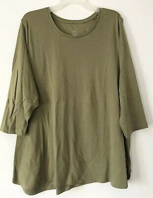 NEW J.JILL 3X Perfect Pima 100% Cotton Scoop Neck Top Rounded Hem Olive Green