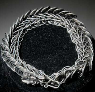 Collectable Handwork Miao Silver Carve Dragon Auspicious Exorcism Hand Catenary