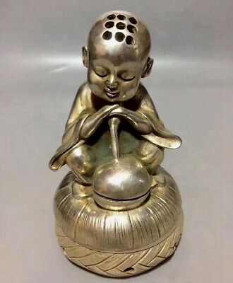 Collectable China Qianlong Miao Silver Carve Bonze Auspicious Lovely Rare Statue