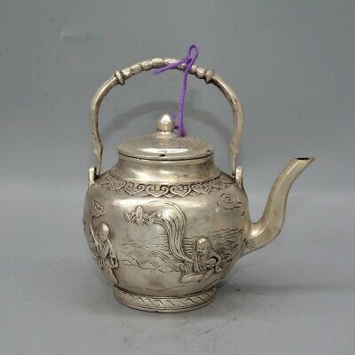 Collectable Qianlong Years Antique Miao Silver Carve Delicate Myth Figure Teapot