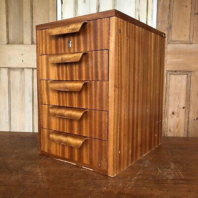 Vintage Teak Table Top Drawers With Bentwood Handles Engineers Drawers Craft