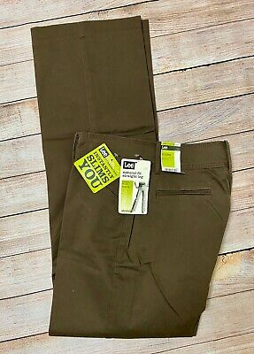 NWT LEE Natural Straight Leg Instantly Slims Brown Pants Women's 12 L (34x34)