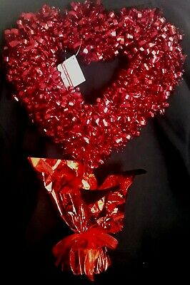 NWT Ashland 3 Red Tinsel Topiary Centerpiece Valentines Day Heart Party Table