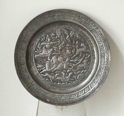 19th century Indo-Persian chased tinned plate with Buraq, Islamic art
