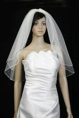 Bridal Veil Ivory 2 Tiers Elbow Length  Pencil Edge With Scattered Rhinestones