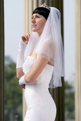 Bridal Veil Ivory 2 Tiers Elbow Length Edge With Beads And Crystals
