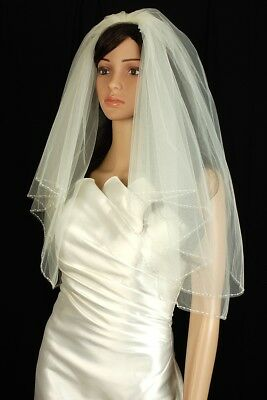 Bridal Veil Ivory 2 Tiers Elbow Length Edge Trimmed With Clear and Seed Beads