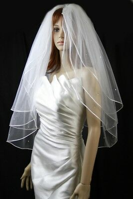 Bridal Veil Ivory 3 Tiers Fingertip Length Satin Cord Edge Scattered Rhinestones
