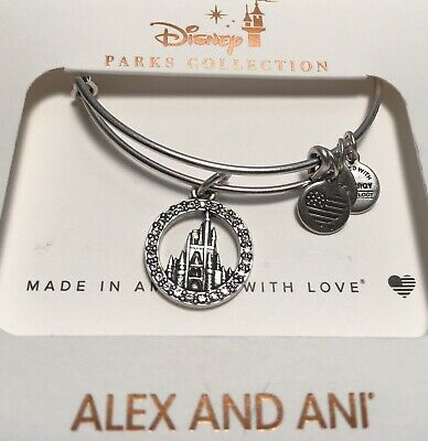 Disney  Alex & And Ani Cinderella Castle With Crystals Silver  Bracelet