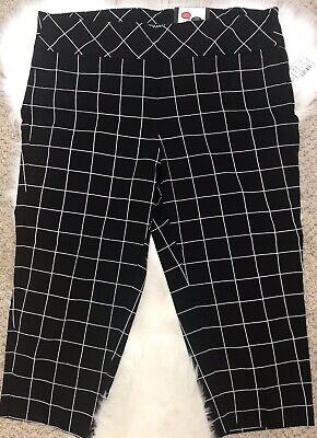 NWT Tummy Control Stretch Roz & Ali Capri Cropped Pants Size 16 Black