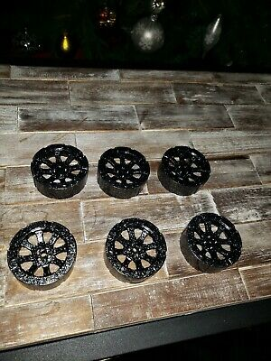 4 Lego Black /& Silver Speckled Wheels Viking Castle Knights Speckle Spoked Wagon