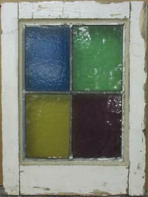 "OLD ENGLISH LEADED STAINED GLASS WINDOW Simple Color Block 13.25"" x 17.75"""