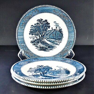 Royal (USA) Currier and Ives Blue Salad Plates (Set of 4)