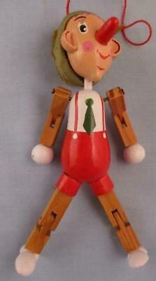 "Vtg Wood Articulated Hinged Jointed Marionette Pinocchio Carved Toy 4.5"" Boy"
