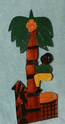"""Vintage Wood carved man climbing coconut tree - 13 3/4"""" tall, glossy finish"""