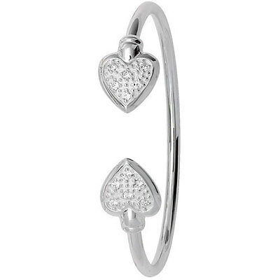 Solid Silver Heart Baby Bangle Torque Christening Gift