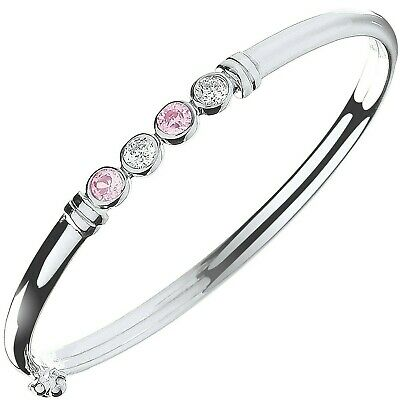 Baby Bangle Solid Sterling Silver Pink & Clear Stone Baby Bracelet Christening
