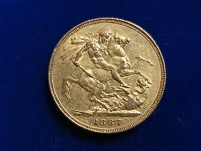 1887 ~ Queen Victoria Jubilee Head ~ Full Sovereign Gold Coin~