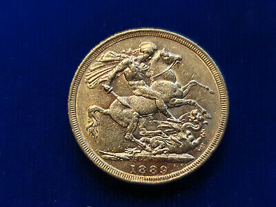 Australia Gold FULL Sovereign 1889-M Melbourne Mint Victoria