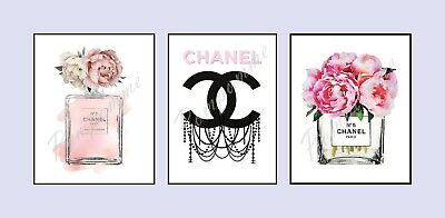 x3 Coco Chanel Perfume Prints Picture Wall Art Home Decor Bedroom Gift Quote A5