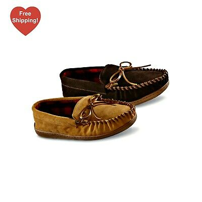 Mens Warm Suede Leather Antiskid Slip On Moccasins Indoor House Shoes Slippers