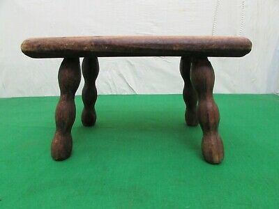 Antique Wooden Milking Stool, Nice Worked Legs, Solid Stool