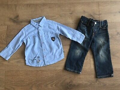 Boys outfit 2 years blue cool club shirt gap jeans adjustable waist F203