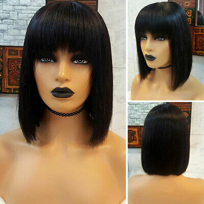 Deluxe Short Bob Full Wig With Bangs Silky Straight European Human Hair Wig x900