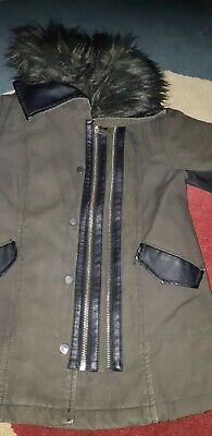 River island girls khaki green Parker age 4 leather look trim fur collar