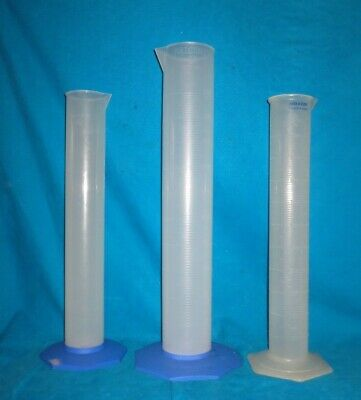 Two Nalgene 2000ml & One Baxter 1000ml Polypropylene Graduated Cylinders