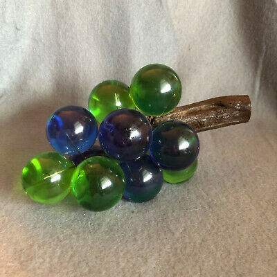 "Lucite grape sculpture, blue green, vintage MCM, 8"", acrylic fruit, mid century"
