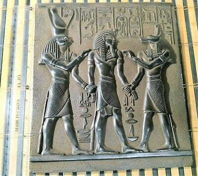 RARE ANTIQUE ANCIENT EGYPTIAN Stela King Amenhotep Gods Anubis Isis 1440-1403 Bc