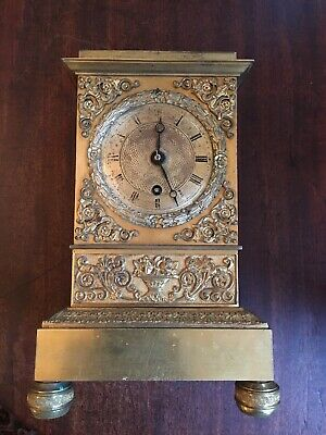 Rare Antique French Empire Gilt Bronze Ormolu Clock by Roussel a Paris