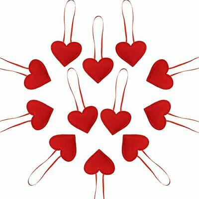 HEQUSigns 24 Pcs Valentine's Day Heart Shaped Ornaments Red Felt Heart