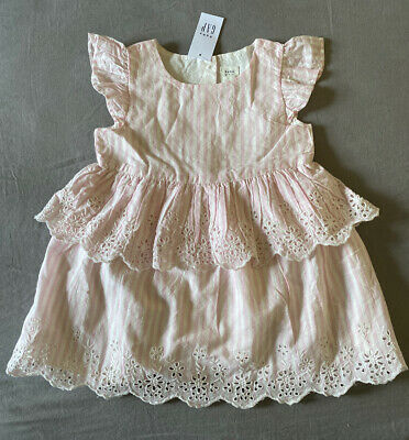 Baby Girl 18-24 Month Baby Gap Pink & White Striped Eyelet Easter Dress