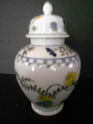 Antique Chinese Blue Canton Ware Porcelain Ginger Jar With Cover