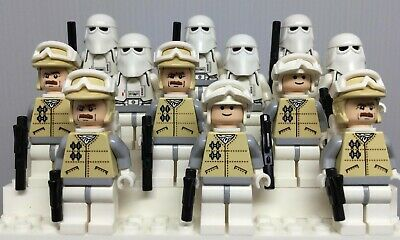 LEGO Lot of 12 Star Wars Minifigures – 6 Hoth Rebels & 6 Snowtroopers with Guns