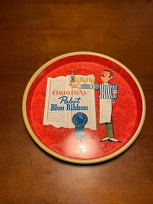 "Vintage Original Pabst Blue Ribbon PBR Beer 13"" Metal Serving Bar Beer Tray"