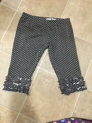 Girls Boutique Polka Dot Gray White Ruffle Bottom Capri Cropped Pants Leggings