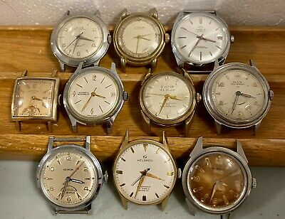 LOT of 10-pcs Vintage WORKING Watches: Elgin; Wittnauer; Bulova; Benrus & More