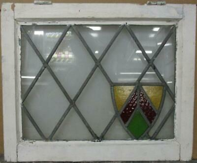 "OLD ENGLISH LEADED STAINED GLASS WINDOW Pretty Diamond Leaded Shield 20.5"" x 17"""