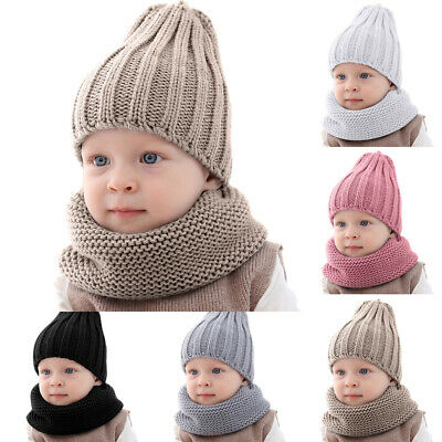 Kids Toddler Baby Boys Girls Winter Pure Color Warm Knitted Hat& Neckerchief Set