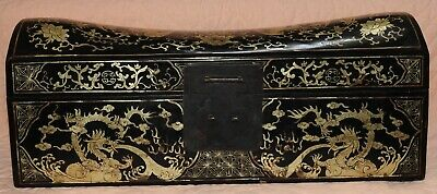 Antique Chinese Qing Dynasty Gilt Inlaid Lacquer Wood Pillow Box Dragon Art
